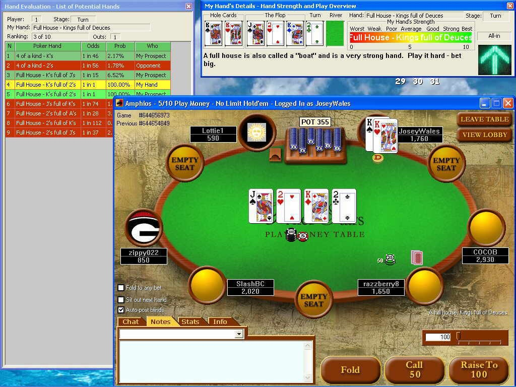 Hands in draw poker